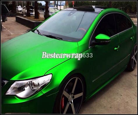satin metallic matt chrome green vinyl  car wrapping