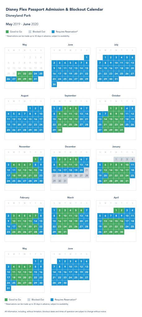 disneyland blackout days  calendar template