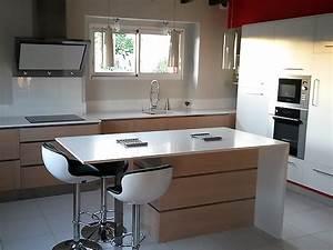 elegance bois artisan createur cuisine salle de bain With amenagement ilot central cuisine