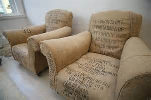 vintage chairs reupholstered with coffee sacks boing boing