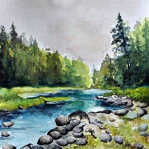 Original Watercolor Painting 10x10 Inch River By