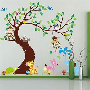 Wandtattoo Tiere Kinderzimmer : wandtattoo wandsticker tiere wald baum spielzimmer affe ~ Watch28wear.com Haus und Dekorationen