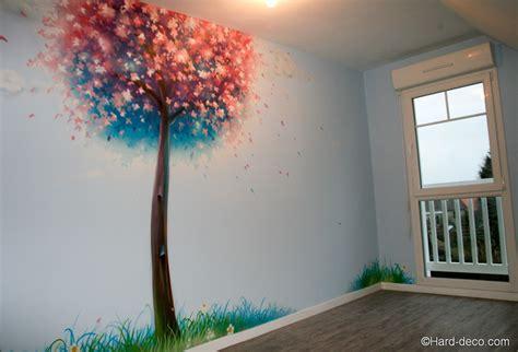 peinture murale décorative cerisier japonais