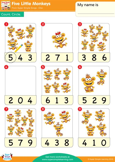 monkeys worksheet count circle super simple