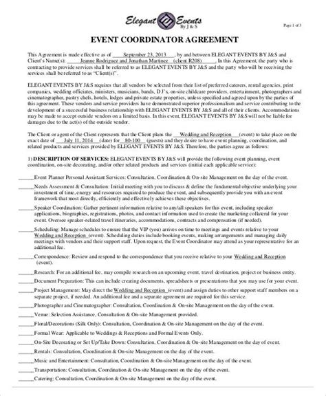 sample event contract agreement  examples  word