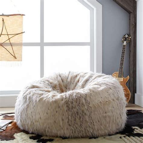 snow cat faux fur beanbag pbteen