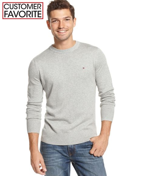 hilfiger sweater hilfiger signature solid v neck sweater in gray for