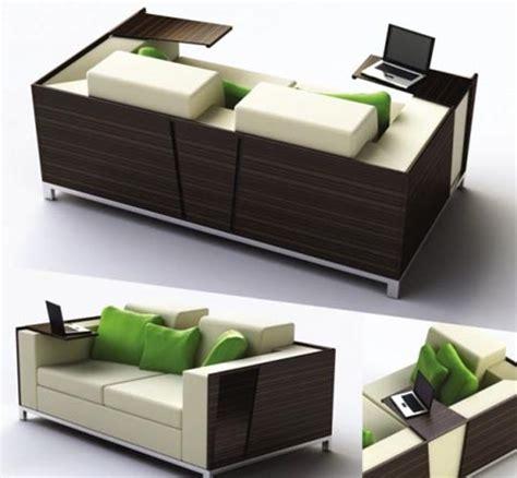 Flip Open Sofa Shelves: Combined Couch & Desk Design