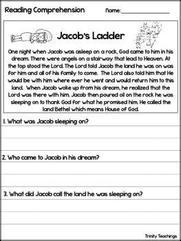 jacob s ladder reading comprehension worksheet bible