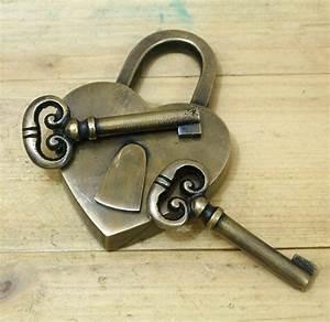 Set Vintage Love Heart Forever PADLOCK with SKELETON Keys ...