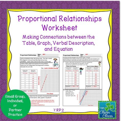 Proportional Relationships Worksheet  7rp2  Activities, Equation And Student