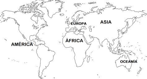 Mapa de continentes 】 Con Nombres Mudo En blanco