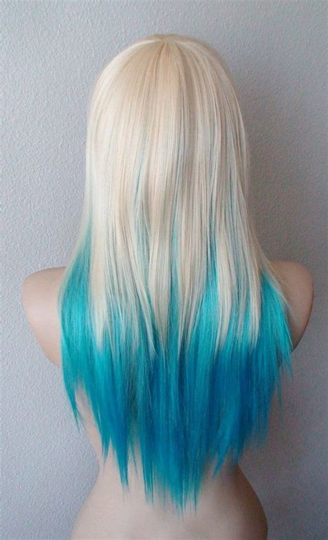 Blonde Teal Turquoise Ombre Wig Medium Layered By