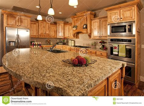 Modern Home Kitchen With Center Island Royalty Free Stock