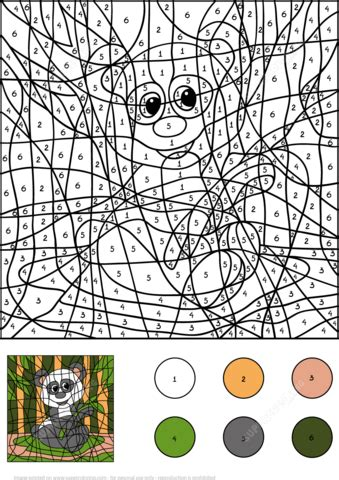 Panda Color by Number coloring page from Color by Number