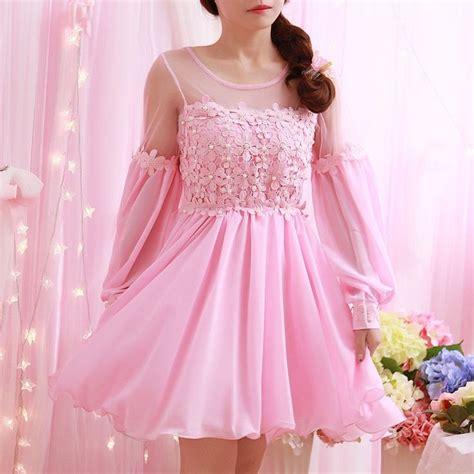 Sweet flower lantern sleeve chiffon dress | Pretty dresses ...
