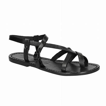 Sandals Strappy Leather Womens Handmade Brown Flat