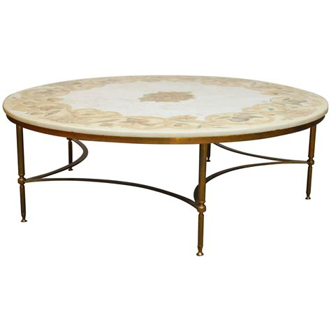 round stone coffee table florentine marble and brass round cocktail coffee table at