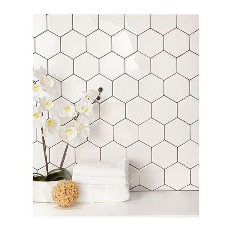 hexagon backsplash tile home depot daltile semi gloss white hexagon 4 in x 4 in glazed
