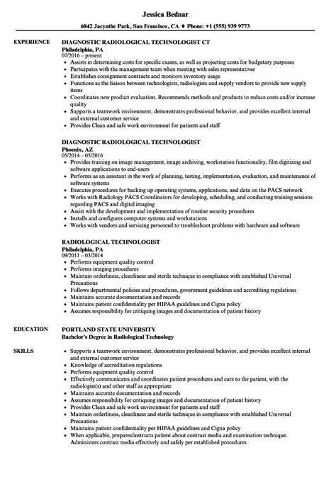 Radiologic Technologist Resume by 10 Radiologic Technologist Resume Exles Resume Sles