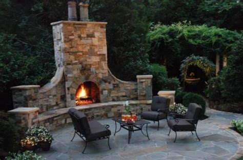 outdoor fireplace chairs stone rustic outdoor fireplace design fres hoom