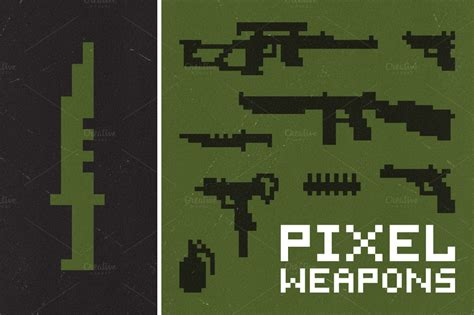 pixel weapons set objects  creative market