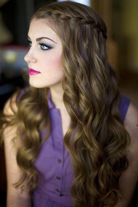 side braid  waves long hairstyles
