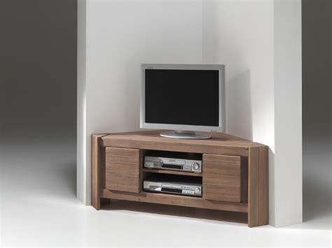 meuble tv d angle en bois et noir laque