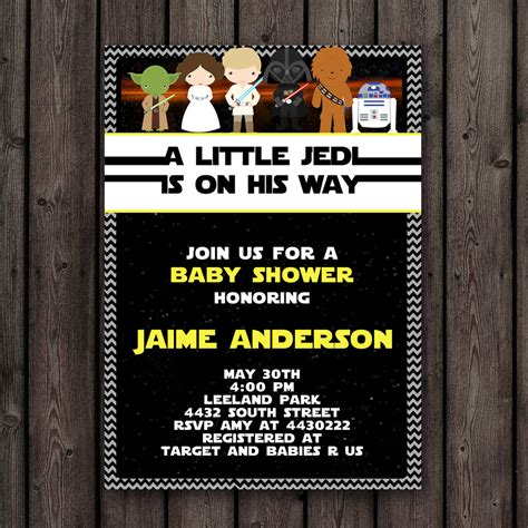 Wars Baby Shower - fast ship wars baby shower invitation customized