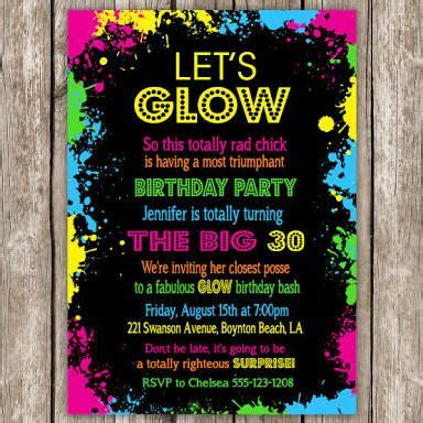 glow   dark party invitation ideas google search