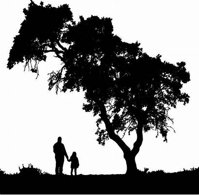 Silhouette Father Daughter Clipart Clip Trees Shadow
