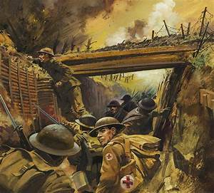 Painting of battle in the trenches of world war 1 ...