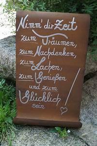 Sprüche Auf Holz : edelrost tafel nimm dir zeit spruch garten metall rost schild geschenk deko ebay ~ Orissabook.com Haus und Dekorationen