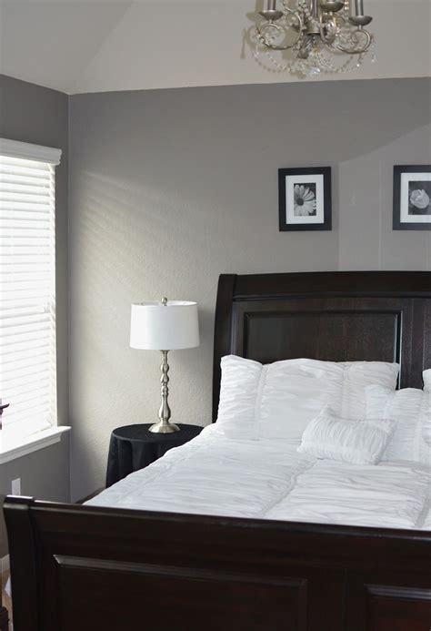Grey Master Bedroom Behr Creek Bend #grey #white