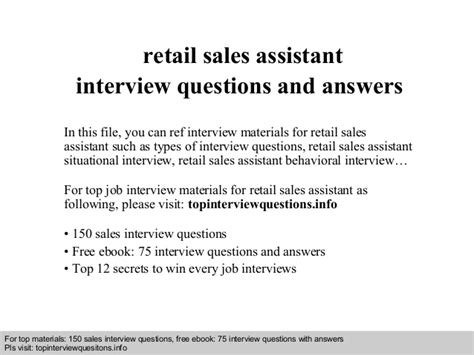 Assistant Manager Questions And Answers For Retail by Retail Sales Assistant Questions And Answers