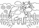 Coloring Cow Printable Cows Cartoon Paper Animals Supercoloring Games Drawing Categories sketch template