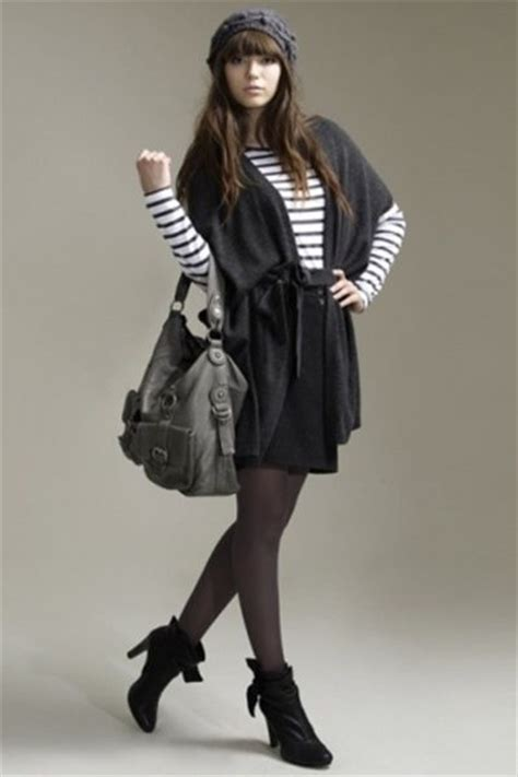 cardigan  short skirt short boots striped top  beanie pictures   images