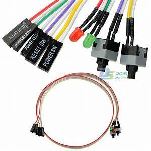 4in1 Pc Power Reset Switch Hdd Led Cable Light Wire Kit