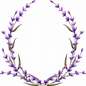 Wreath, frame border with watercolor lavender flowers ...