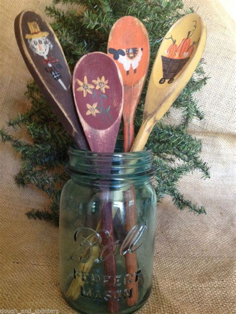 primitive country fall themed wood spoon utensil crock