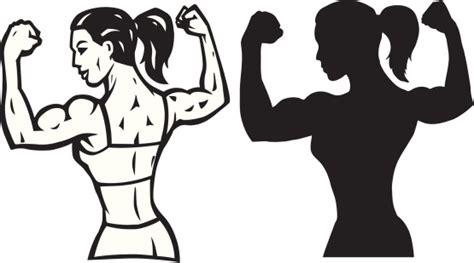 Stylized Female Flexer And Outline Vector Art 103957502