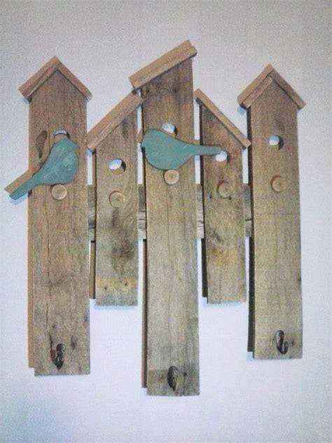 bird house wall hanging  coat hooks   upcycled