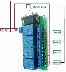 12v 4ch Db9 Rs232 Relay Board Scm Pc Uart Remote Control