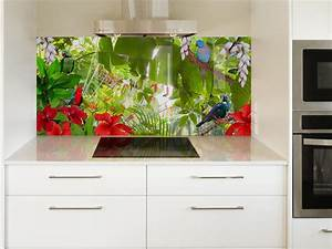 digital print glass splashbacks glassart With kitchen colors with white cabinets with bird of paradise metal wall art