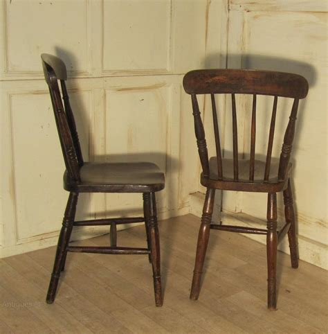 6 Victorian Beech & Elm Country Kitchen Chairs Antiques