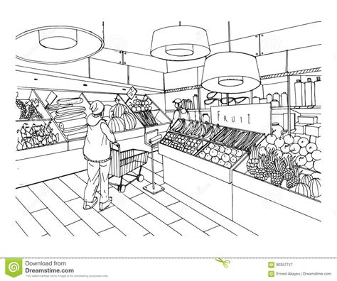 grocery clipart black and white supermarket interior in style grocery
