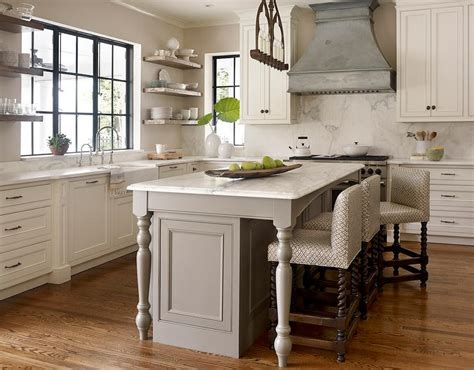 gray kitchen island  turned legs transitional kitchen
