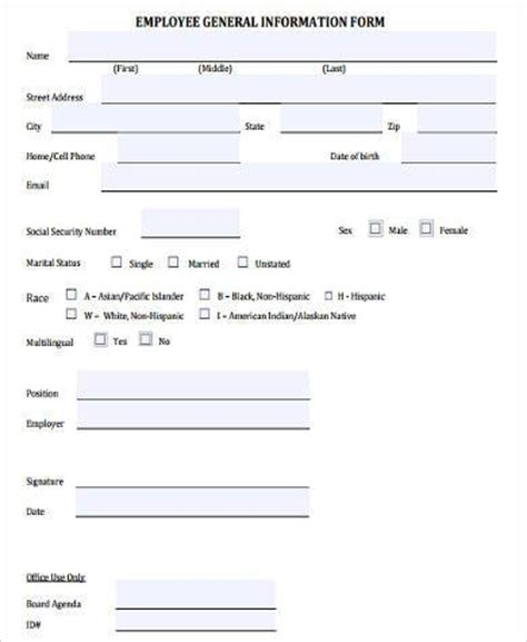 employee information form pdf general information form sles 9 free documents in