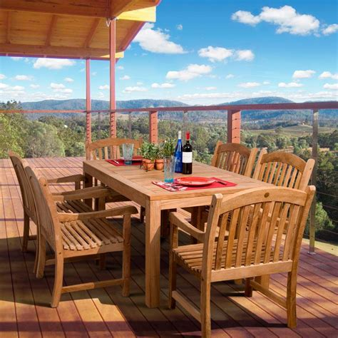 amazonia oslo 7 piece teak patio dining set sc oslo the