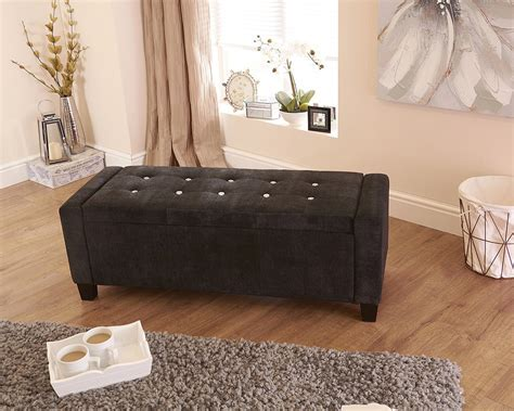Florence Diamante Ottoman Storage Seat   Black Fabric